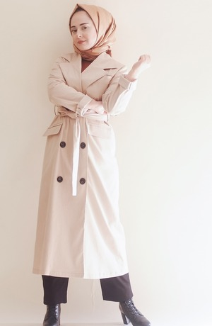 Modest Catwalk coupon: Beige Double-Breasted Modest Trenchcoat