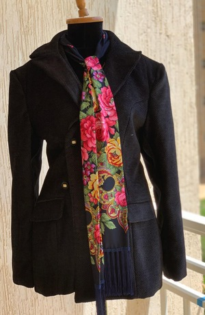 Modest Catwalk coupon: Velvet Black Modest Jacket with a Flowery Scarf